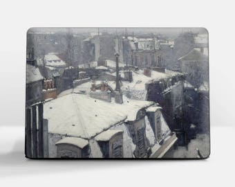 """Laptop skin (Custom size). Gustav Caillebote, """"Rooftops in the Snow"""". Laptop cover, HP, Lenovo, Dell, Sony, Asus, Samsung etc."""