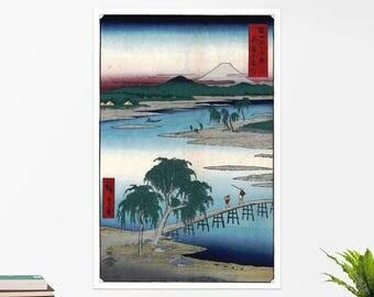 "Utagawa Hiroshige, ""The Tama River"".  Art poster, art print, rolled canvas, art canvas, wall art, wall decor"