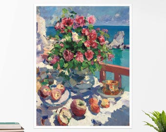 "Konstantin Korovin, ""Still Life with Roses..."". Art poster, art print, rolled canvas, art canvas, wall art, wall decor"