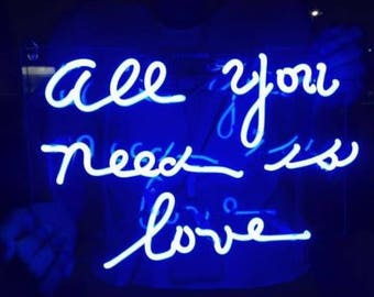 """Blue """"all you need is love"""" LED Neon Sign"""