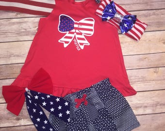 Merica bow tank top/toddler/girl/patriotic