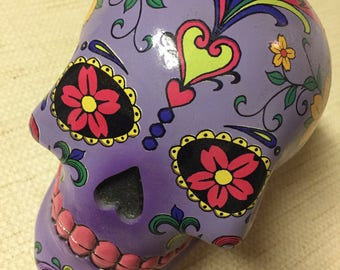 Purple day of the dead skull
