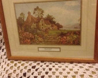 Pine framed The Old Manse By Daniel Sherrin - Countryside - cottages - lakeside - wild flowers  - print