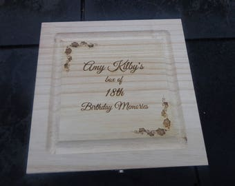 Personalised Engraved Wooden Storage Box - 20cm sq - any engraved name / message