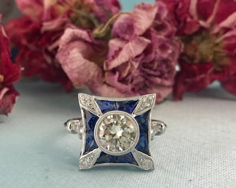 Old European Cut Diamond and Sapphire Engagement Ring 18k White Gold Antique Vintage Art Deco Style