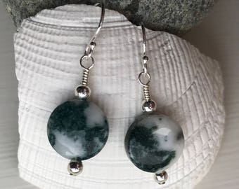 Green Tree Agate and Silver Bead Earrings