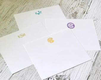 Monogrammed Flat Horizontal Note Card Set with Metallic Foil Lettering | Personalized Stationery Set | Personalized Lay Flat Cards