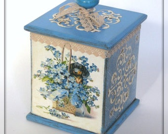 Decoupage Box with Flower Ornament for Kitchen, Jewellery or Needlework