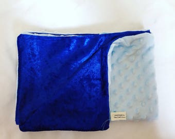 Royal blue crushed velvet baby blanket