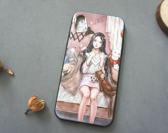 Oil Painting Style iPhone X case, iPhone x case, iPhone x cover, Cute iPhone x case, Pink iphone x case