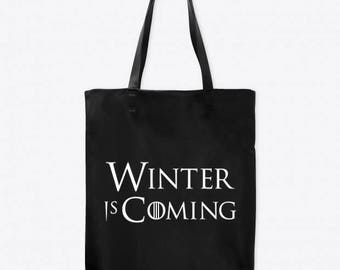 Winter is Coming Game of Thrones Horror Canvas Tote Bag Market Pouch Grocery Reusable Halloween Merch Massacre Black Friday Christmas