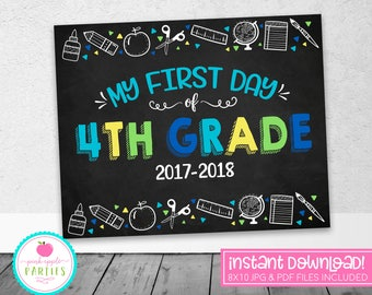First Day of 4th Grade Chalkboard Sign - First Day Sign - Blue, Green, Yellow, Turquoise - 8x10 Instant Download Printable Sign