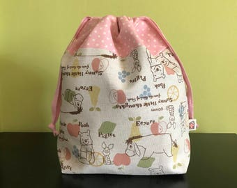 "Handmade drawstring bag / pouch for knitting crochet project 10"" x 7.5"" x 3.5""  *Pooh and Piglet 2*"
