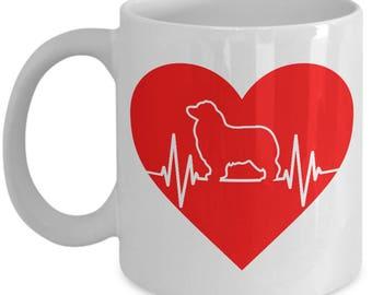 Australian Shepherd Heartbeat Mug - 11oz or 15oz Ceramic Cups For Coffee And Tea