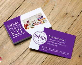 Seed to Seal logo with Premium Starter Kit > Business Card > Personalized for Young Living Independent Distributors