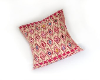 pink cushion case / ethnic mexican emroidery pillow / boho chic