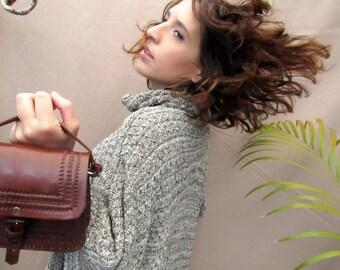 gray woven poncho / sweater