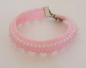 Perfect Pink Crochet Pearl Ankle Bracelet