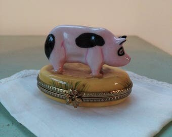Pig Limoges porcelain pill box rare French. Trinket Box. Pig Limoges Box