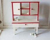 Vintage Farmhouse Kitchen Cupboard Hutch Childs Toy - Handmade Wood Furniture - Red n White - Country Cottage Shabby Chic Style Decor -