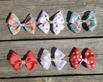 Coral and mint hair bow/ teal hair bow/ coral and teal hair bow