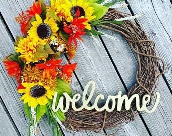 Fall wreath/ welcome wreath/ sunflower wreath
