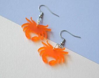 Small Crab Dangle Earrings / Tropical / Tiki / Pinup / Kawaii / Retro / Summer / Studs / Drops / Statement