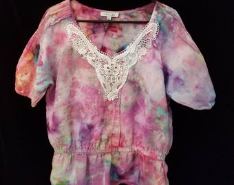 One-of-a-kind, hand dyed, upcycled linen and lace blouse, size large