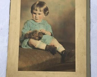 Vintage Hand Colored Tinted Photo Little Boy Maurice Nathan Wagner Fink Studios