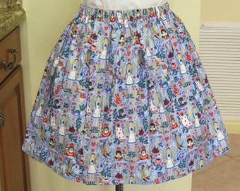 Adult Alice in Wonderland Skirt - Metallic Wonderland Light Blue