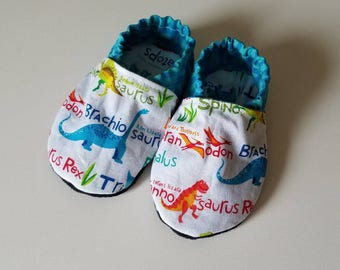 Dinosaur Soft Sole Shoes - Baby Mocs - Baby Moccasins - Baby Slippers - Baby Shoes - Crib Shoes