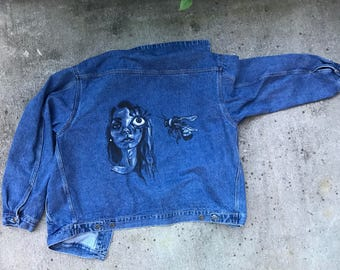 Birds and the Bees Denim Hand-Painted Jacket
