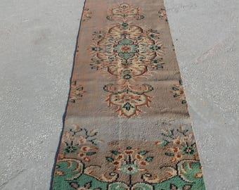 """Oushak Runner Rug, Vintage Turkish Runner Rug,2'8""""×9'6""""feet,Area rug,Turkish Carpet,Home Living,RUNNER Rug, Art Runner Rug,Floor Rug,Runner,"""
