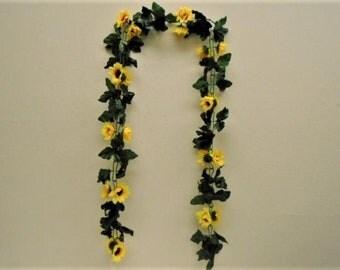 YELLOW Sunflowers Chain Garland Artificial Silk Flowers 6 ft Vine 031YL