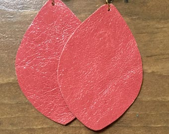 Coral Pink Leather Earrings