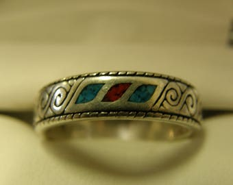 Blue Turquoise & Coral Sterling Silver Ring- Size 10 1/4