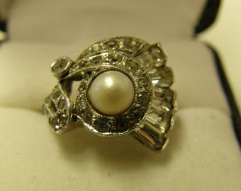 Antique Crystals & Pearl Sterling Silver Ring - Size 4