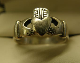 Sterling Silver Irish Claddagh Ring  - Size 9
