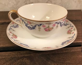 Vintage Noritake Nippon Tea Cup And Saucer - Pink Roses And Blue Scroll - Early 1900's - Made In Japan