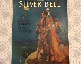 Silver Bell Song by Edward Madden Native American Indian Vintage Sheet Music 1910 Large Format