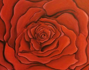 Red Rose  painting canvas