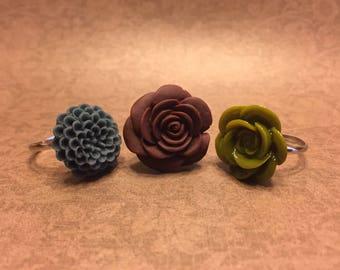 Floral Adjustable Rings set