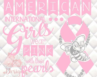 American International University - Pink & Pearls - Breast Cancer Awareness - SVG, Silhouette studio and png bundle