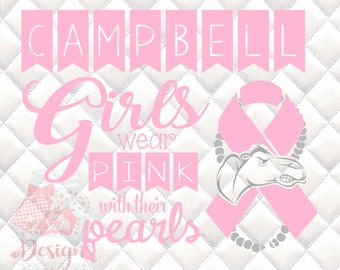 Campbell Fighting Camels Pink and Pearls - Breast Cancer Awareness - SVG, Silhouette studio and png bundle