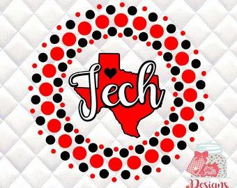 Texas Tech Circle SVG, Silhouette studio bundle - design download