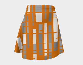 Skirt, Gift, Orange, For Her, Wife Gift, Womens Skirt, Gift, Retro, Geometric, A-Line Skirt, Womens Gift, Unique, Gift for Women, Gray