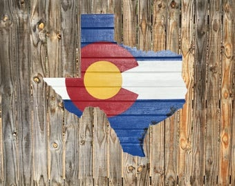 Texas-Colorado  Cedar Flag Sign - Any Flag On Any State Or Country Outline