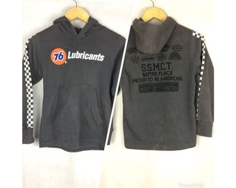 76 LUBRICANTS Long Sleeve Hoodies Full Print Large Spell Out Logo and Full Print Image Logo at Back saiz 140