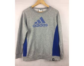 ADIDAS LONG Sleeve Sweatshirt / Pull Over Small Size Big Logo Infront Sportwear