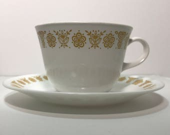 1970's | Set of 7 Corelle Cups and Saucers | butterfly gold